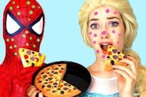 Spiderman & Frozen Elsa vs Pizza