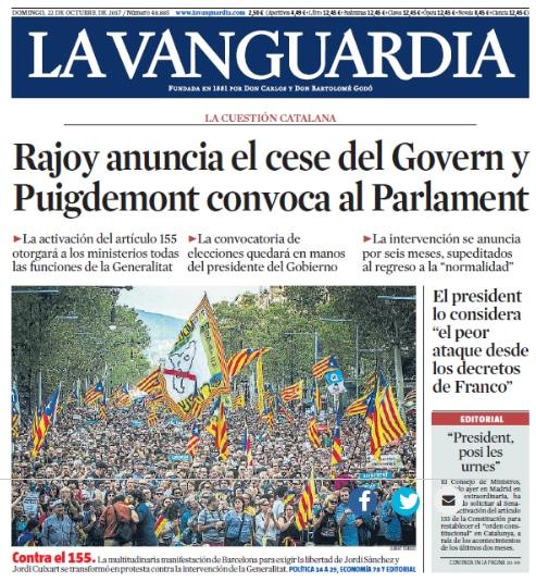 Qué dice La Vanguardia sobre la Independencia el día después del 155