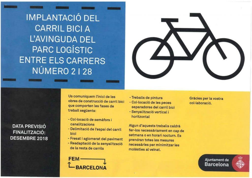 Inicio de obras para dotar de carril bici la Avda. Parc Logístic y la calle 2 de la Zona Franca