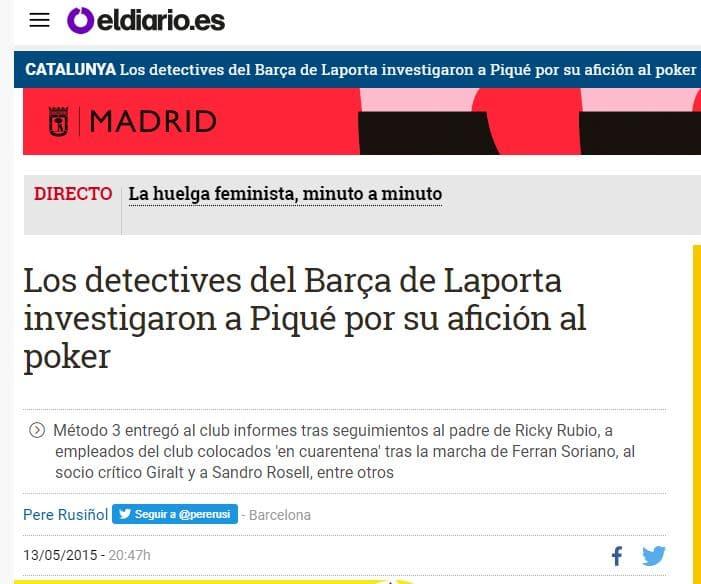 Gerard Piqué investigado por su afición al Póker