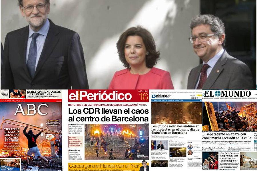 La Barcelona en llamas contrasta con la firmeza del Gobierno de Rajoy