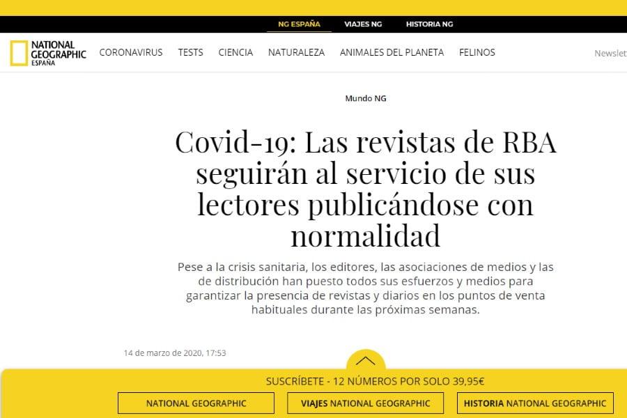RBA se vuelca en la lucha contra el coronavirus COVID-19. Portada de National Geographic